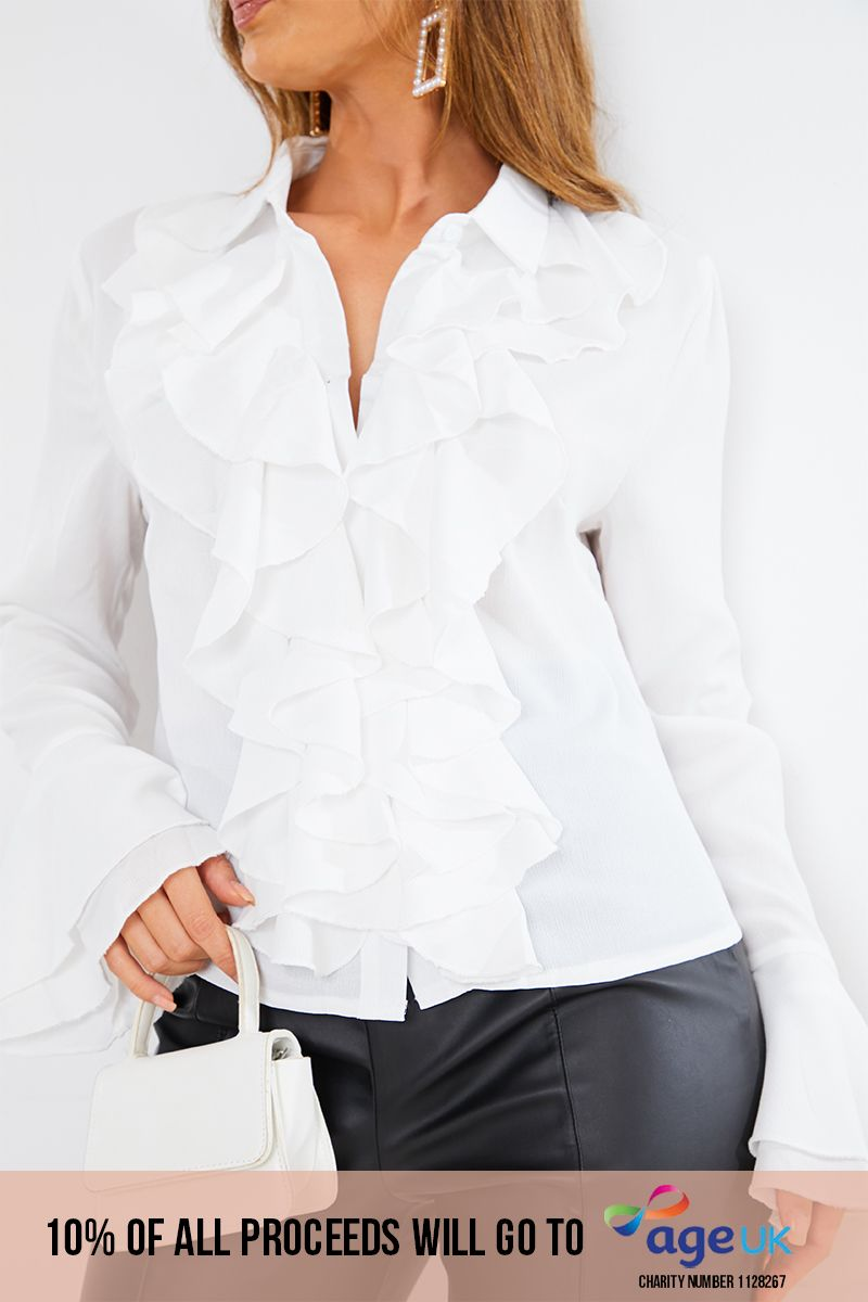 ivory frill detail shirt