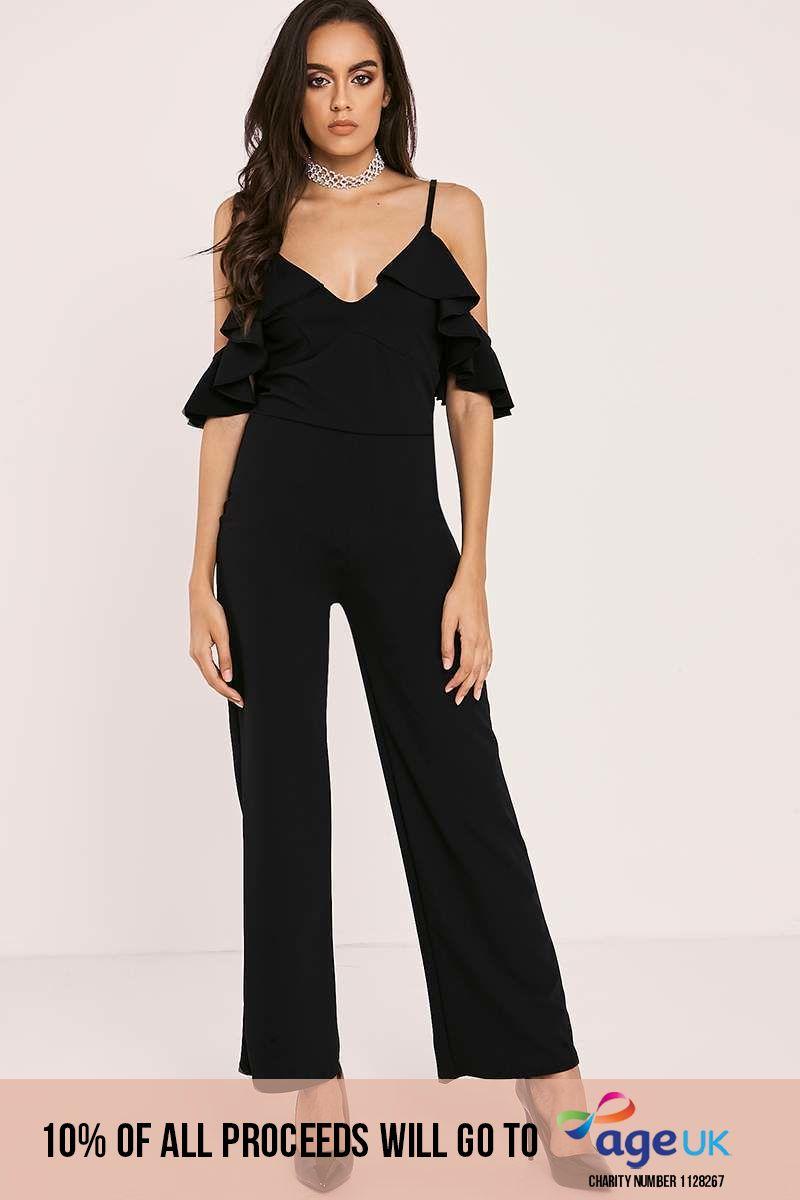 black frill strappy cold shoulder jumpsuit