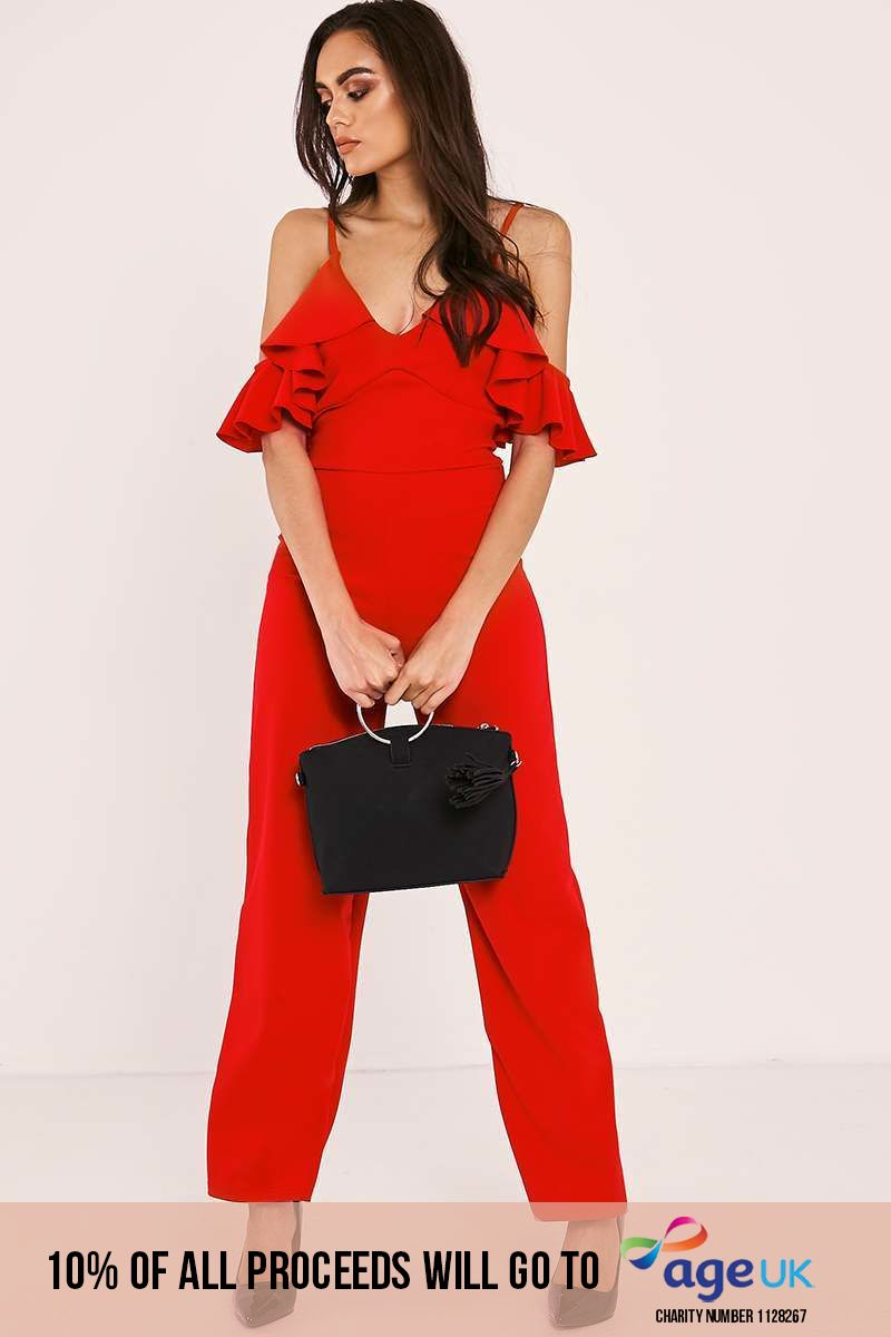 PAMONA RED FRILL STRAPPY COLD SHOULDER JUMPSUIT