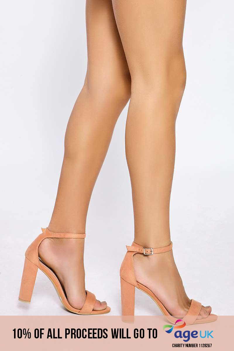 peach faux suede ankle strap heels