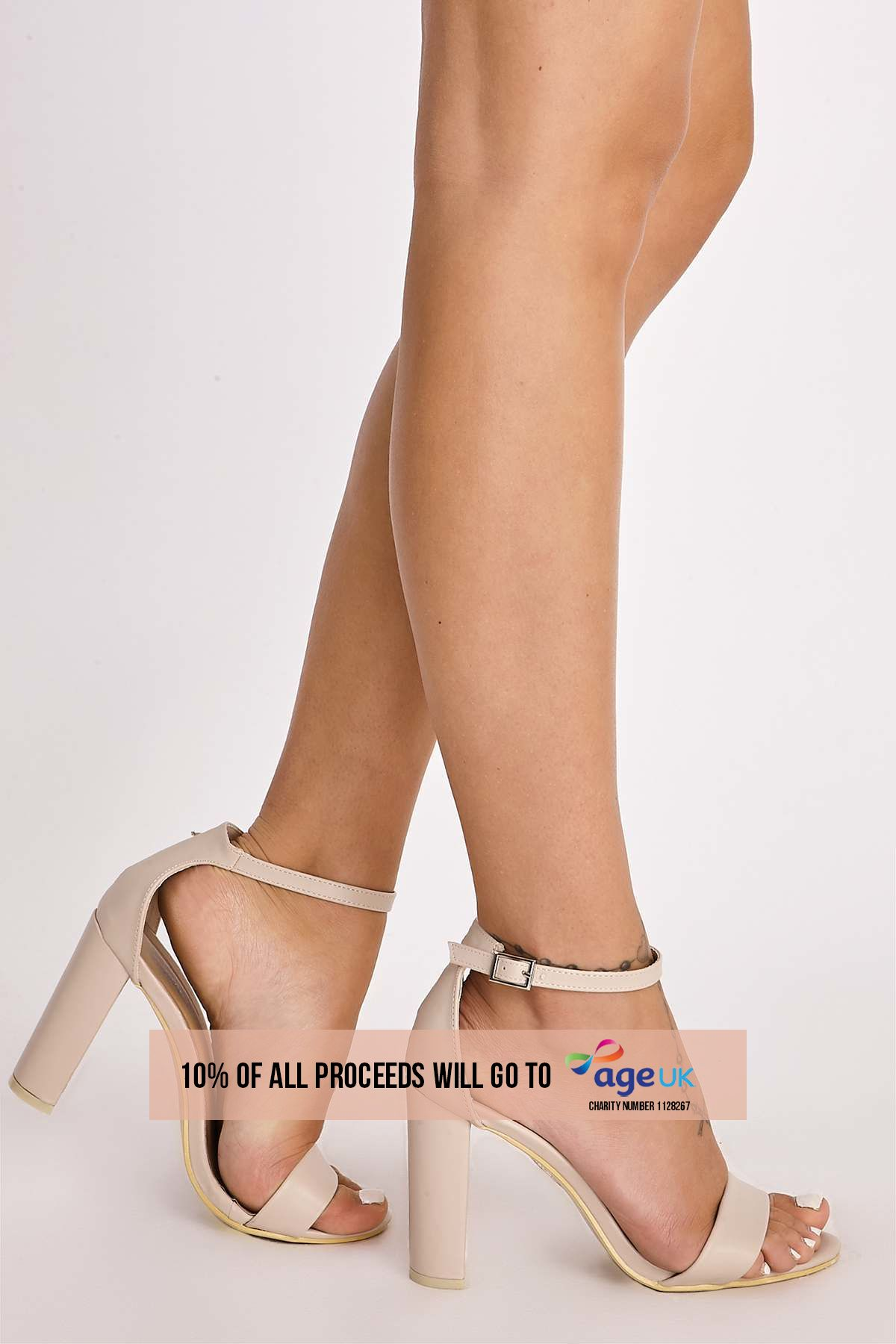nude faux leather ankle strap barely there heels