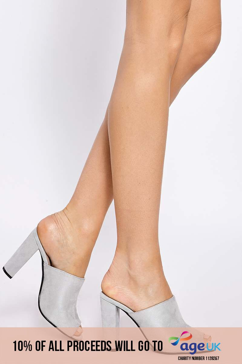 light grey faux suede heeled mules