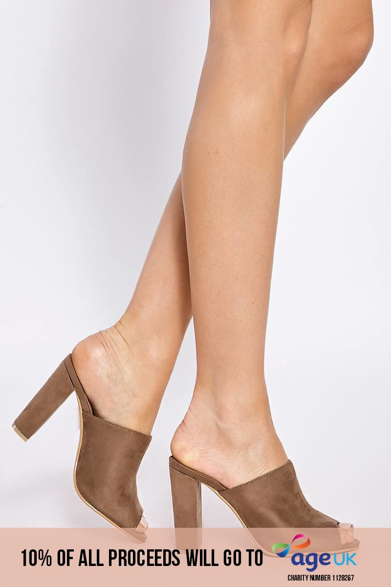 mocha faux suede heeled mules