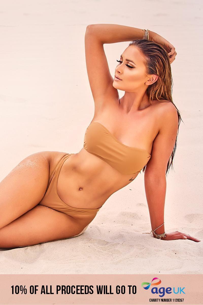 tan bandeau bikini top