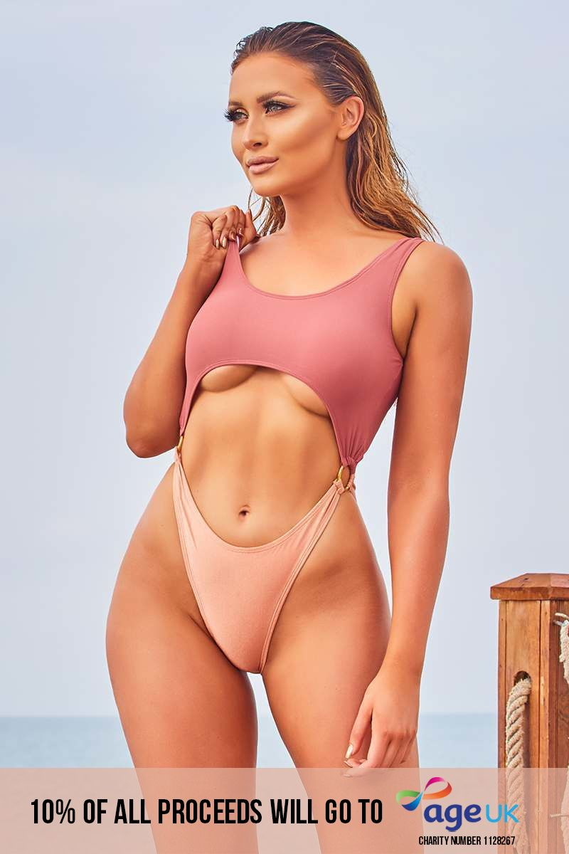 MINRA DEEP ROSE AND PEACH CUT OUT HIGH LEG SWIMSUIT
