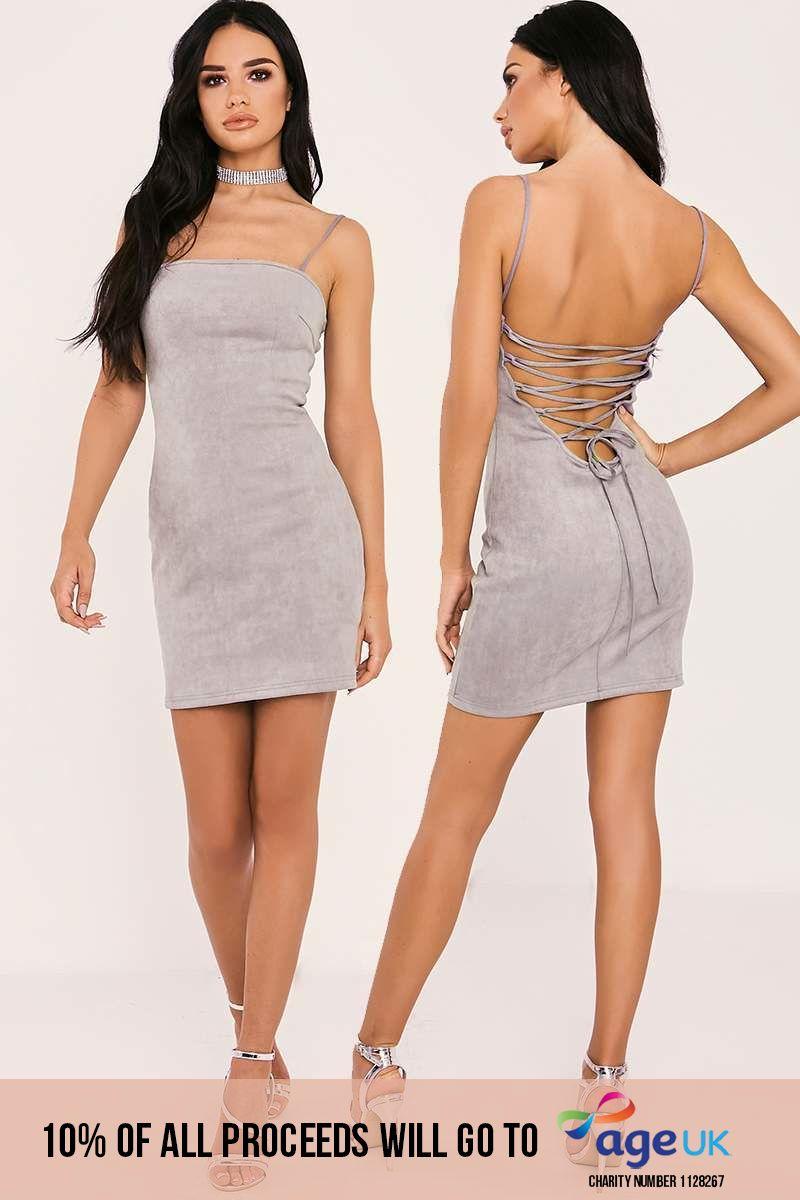 grey lace up faux suede mini dress