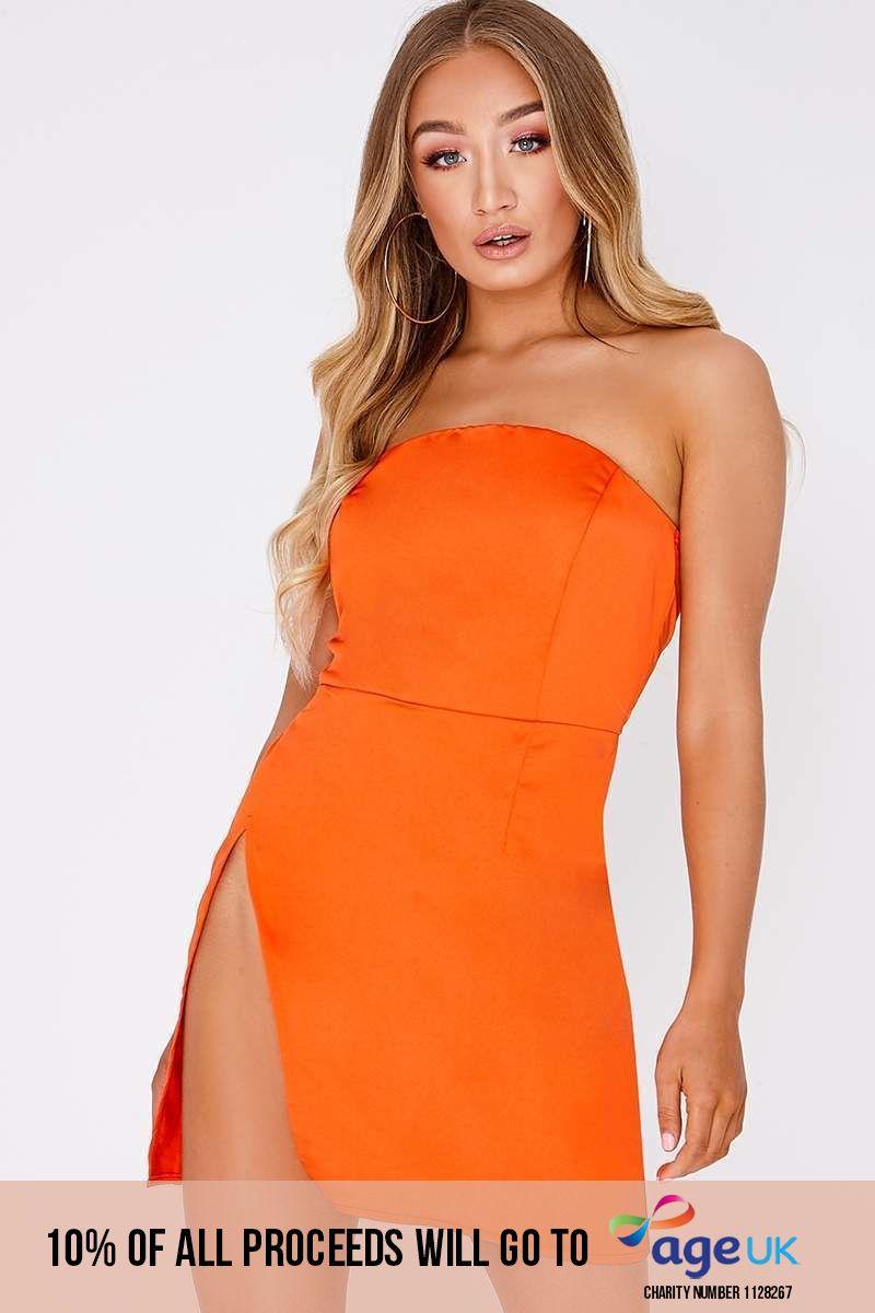 hot orange bandeau thigh split mini dress