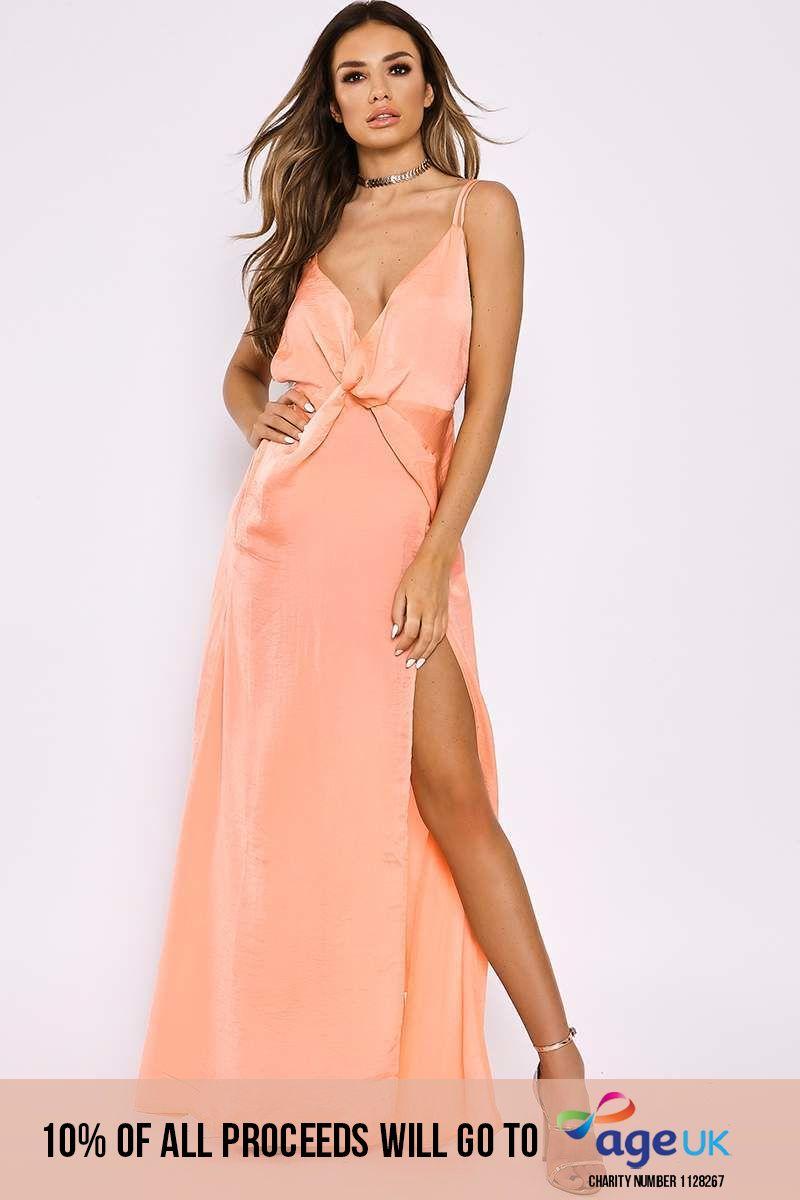 peach silky plunge twist front maxi dress