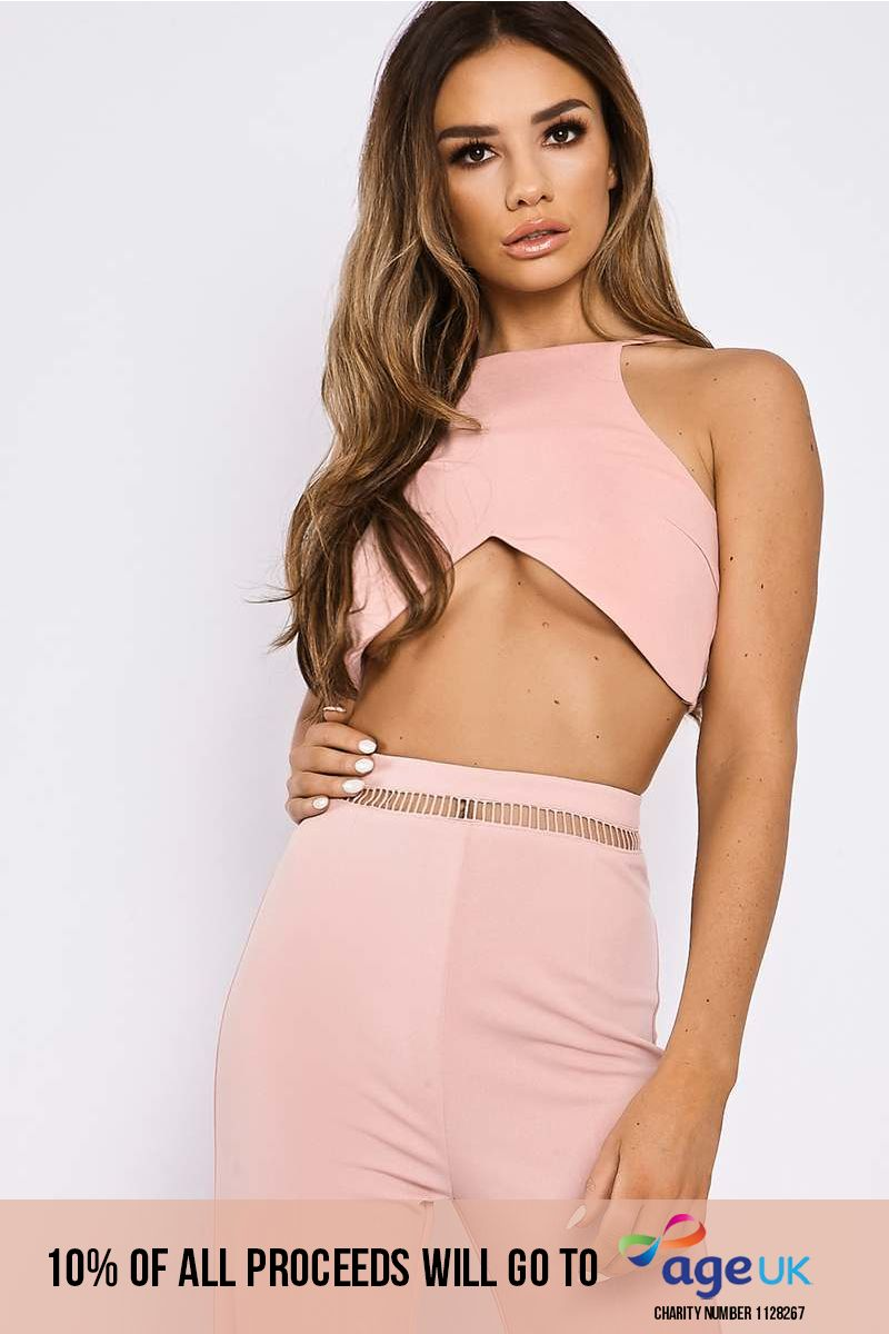 pink cut out lace up crop top