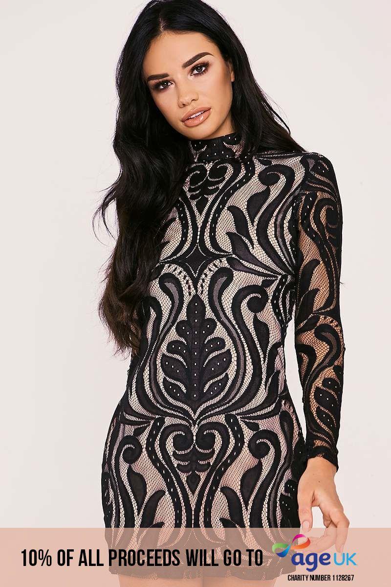 black flocked lace high neck mini dress
