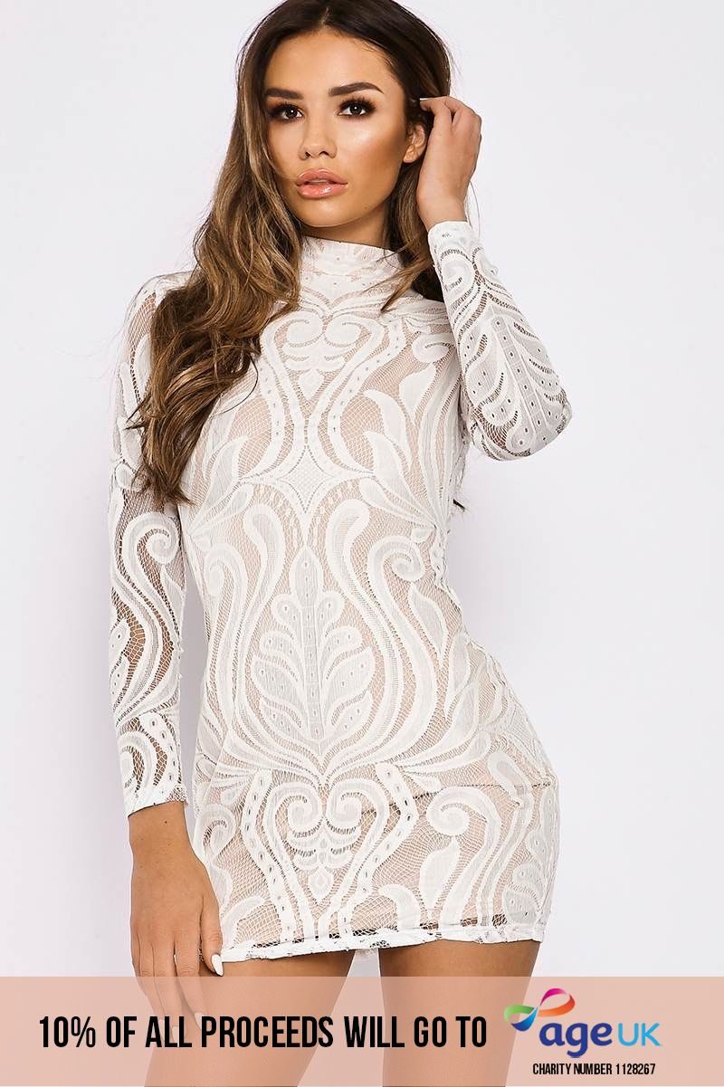 white flocked lace high neck mini dress