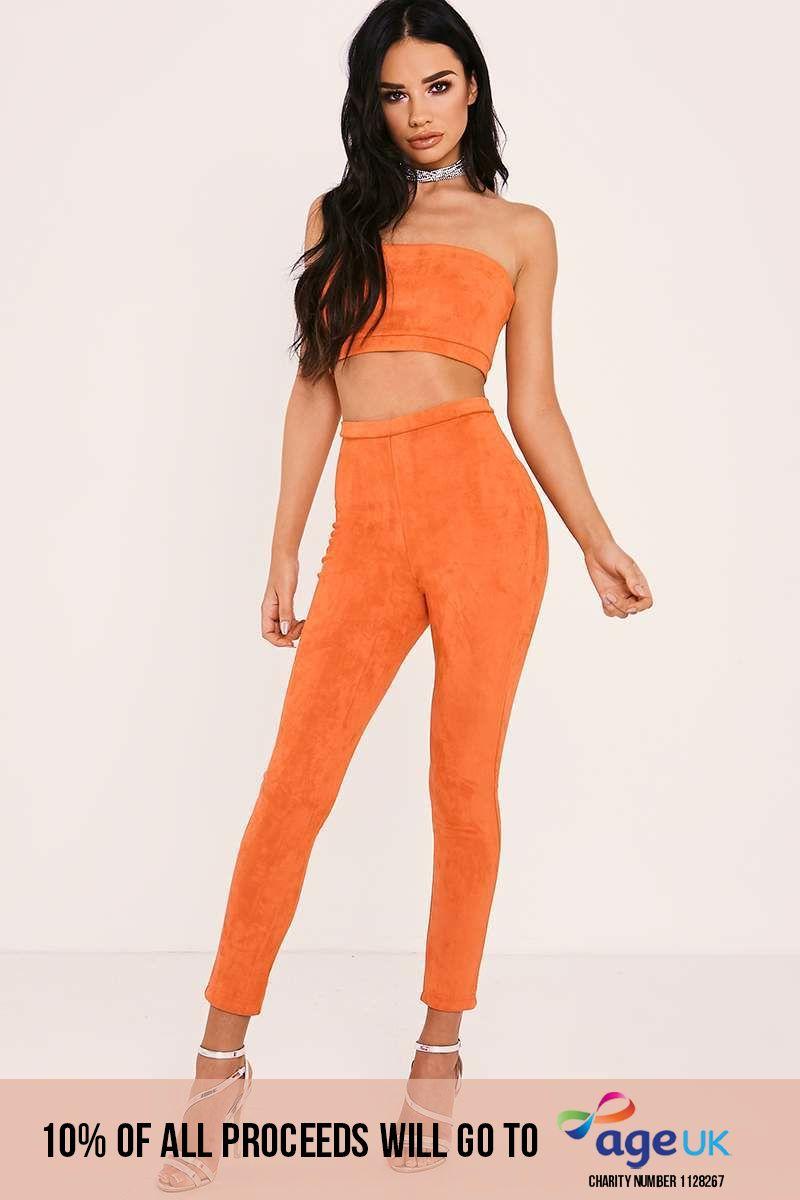 hot orange faux suede high waisted leggings