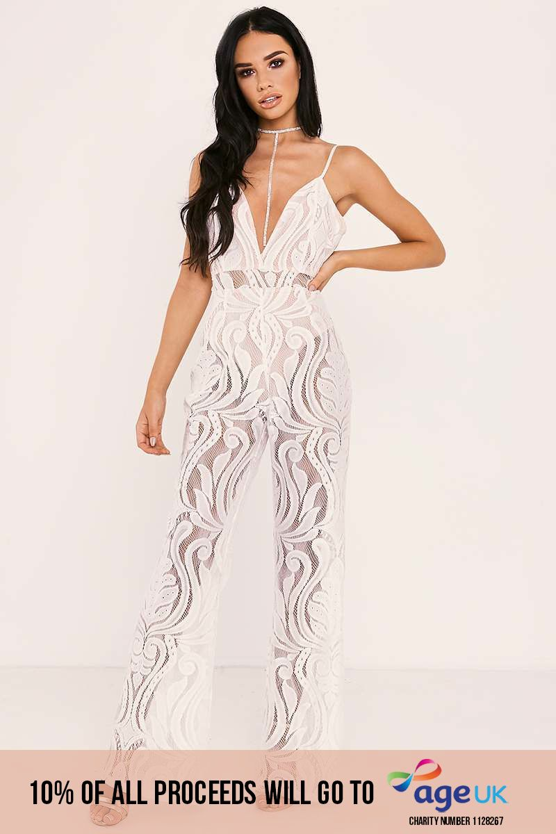 white flocked lace jumpsuit