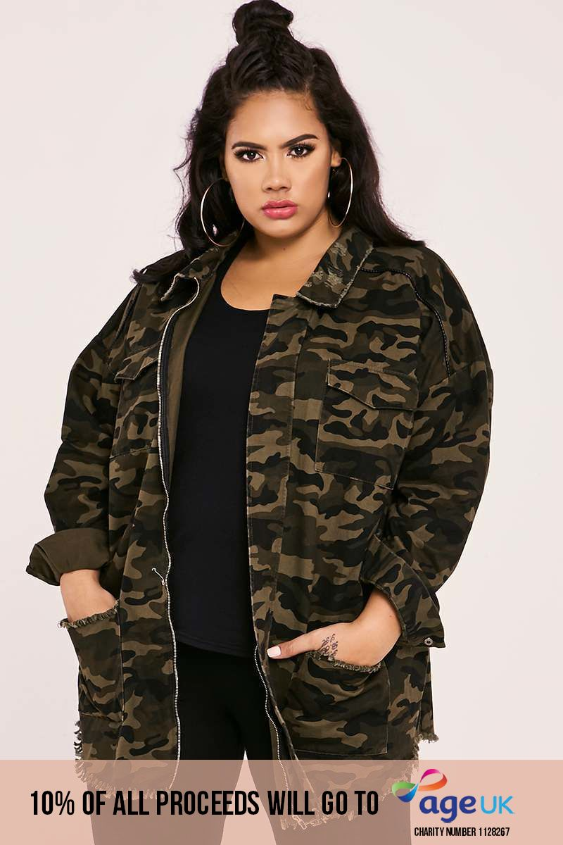 curve khaki camo distressed trim oversized jacket