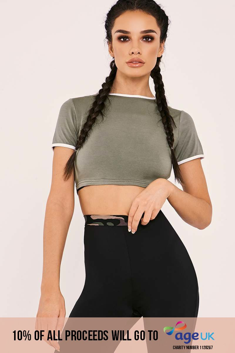 SARAH ASHCROFT KHAKI CONTRAST CROPPED TEE