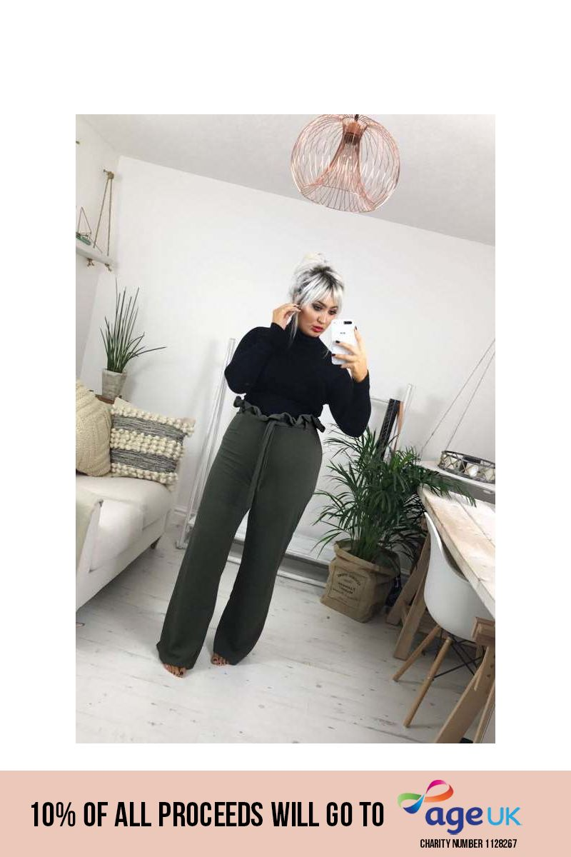 curve khaki flared high waisted paperbag trousers