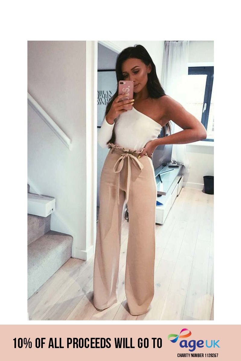 tall nude flared high waisted paperbag trousers