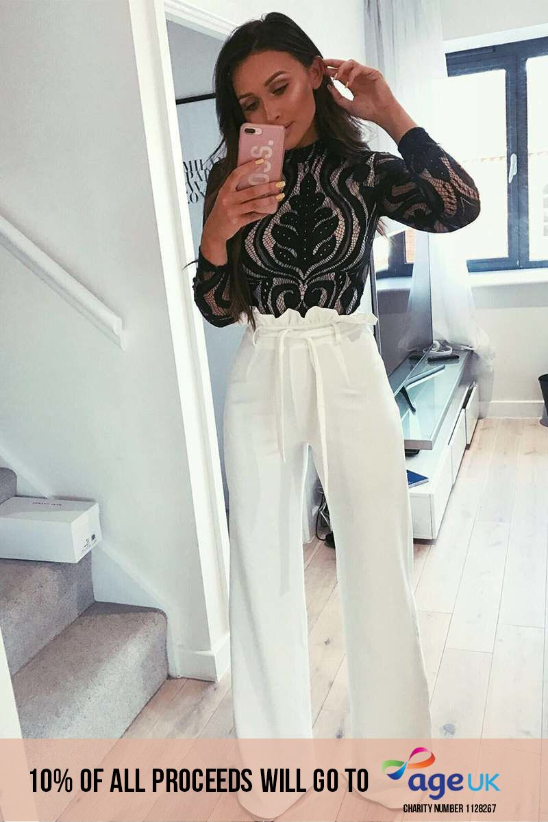 SARAH ASHCROFT TALL WHITE FLARED HIGH WAISTED PAPERBAG TROUSERS