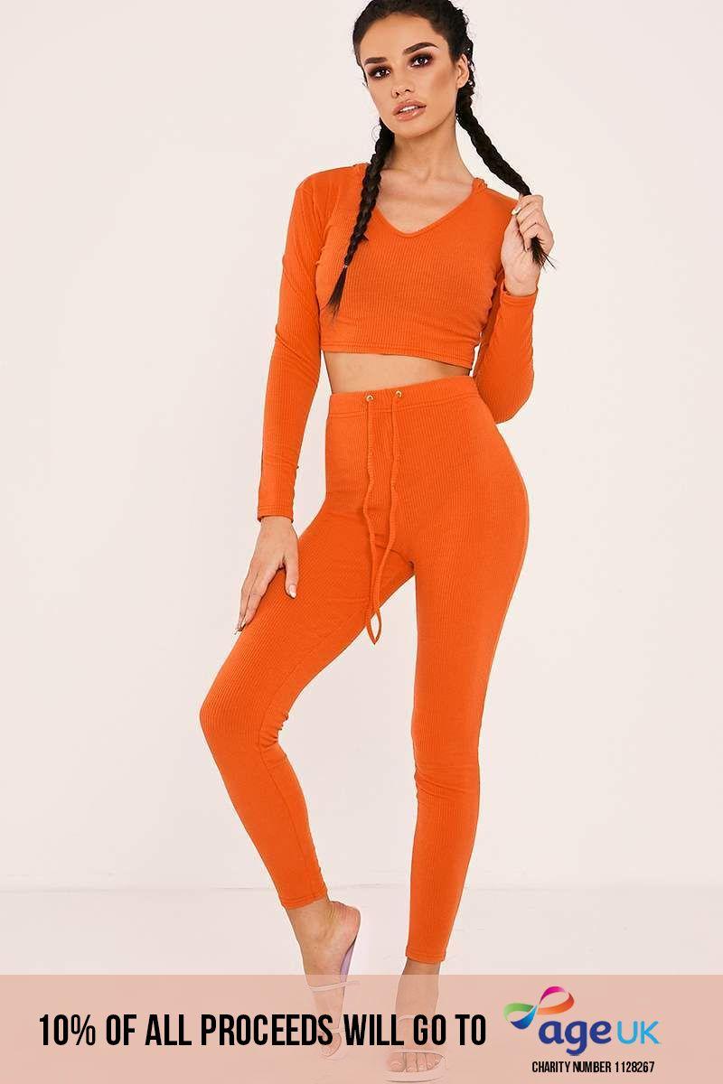 hot orange ribbed high waisted leggings