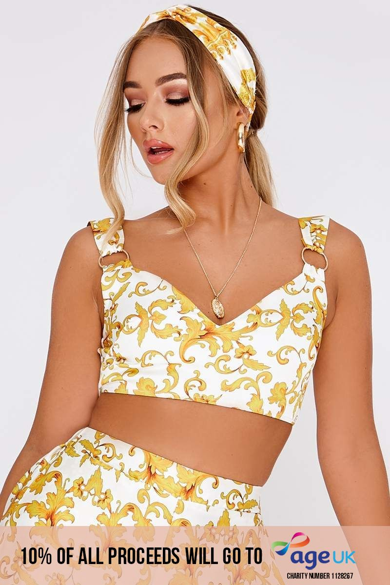BILLIE FAIERS WHITE BAROQUE PRINT RING DETAIL CROP TOP