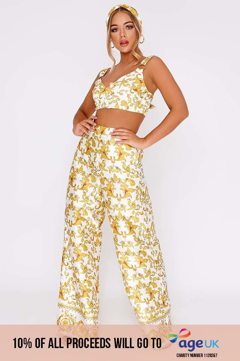 BILLIE FAIERS WHITE BAROQUE PRINT PALAZZO TROUSERS