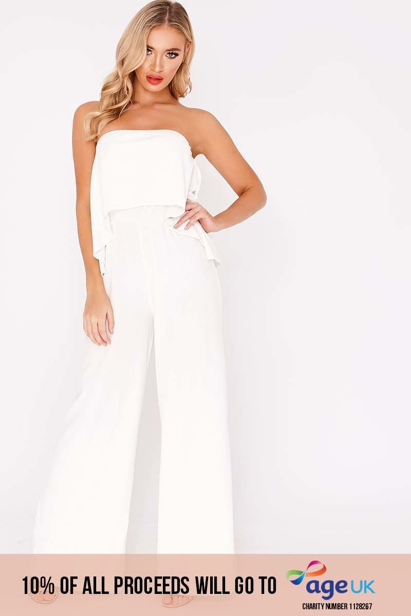 BINKY WHITE DOUBLE LAYERED WIDE LEG JUMPSUIT