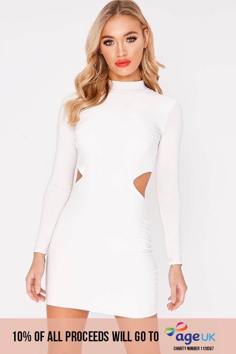 CHARLOTTE CROSBY WHITE LONG SLEEVE BACKLESS DRESS