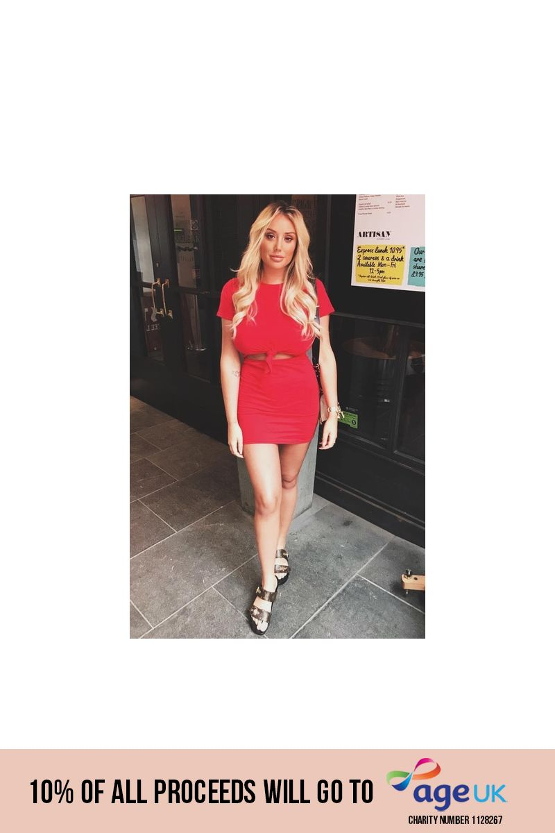 CHARLOTTE CROSBY RED KNOT DETAIL T-SHIRT DRESS