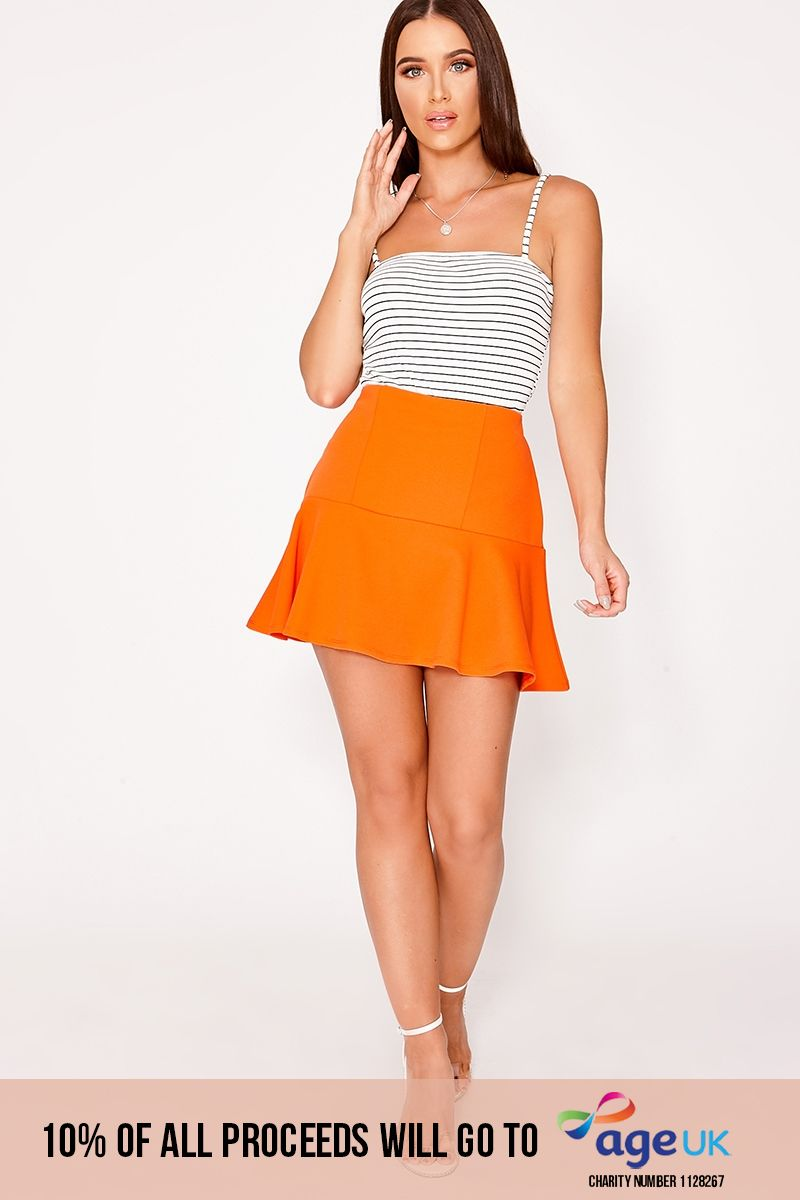 CHARLOTTE CROSBY ORANGE FRILL EXTREME MINI SKIRT