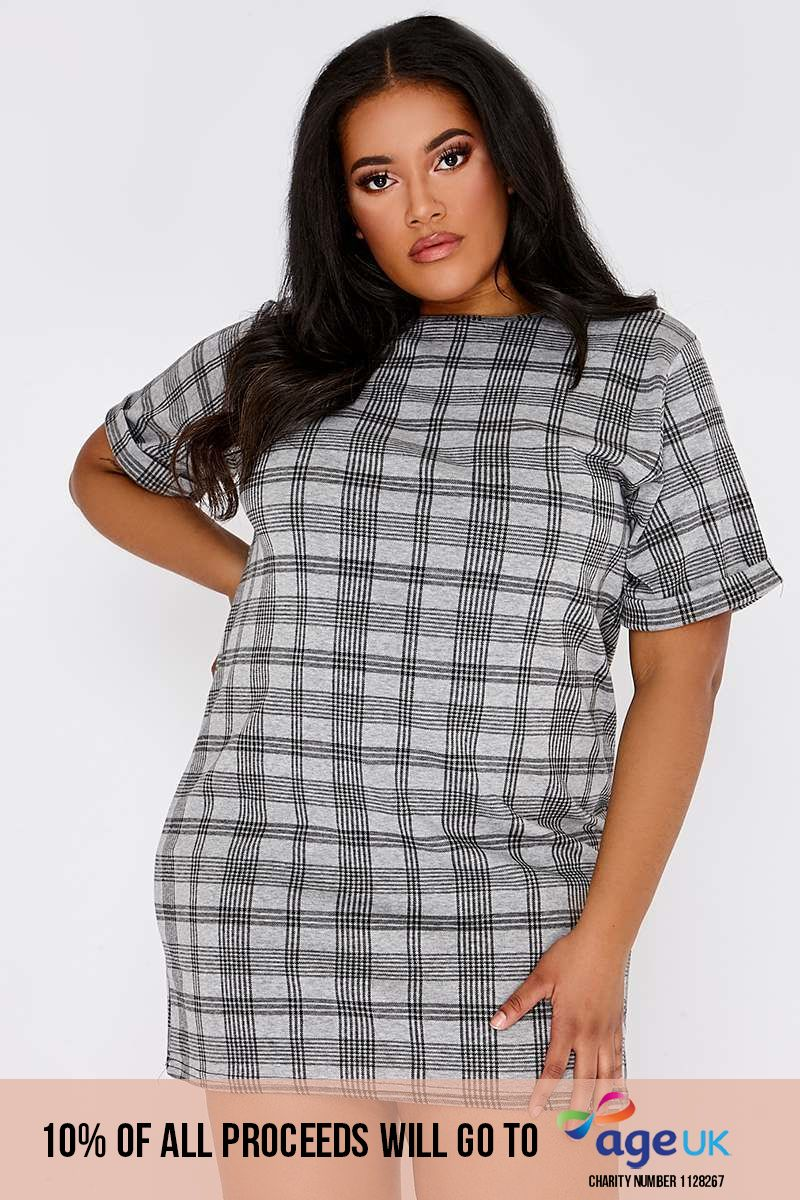CURVE LISSA GREY CHECKED T SHIRT DRESS