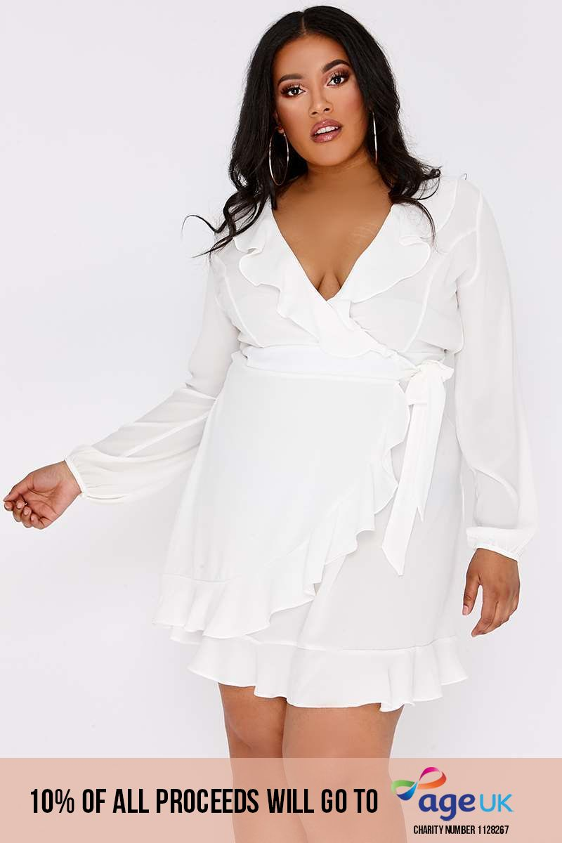 CURVE ARISSIA WHITE FRILL WRAP MINI DRESS