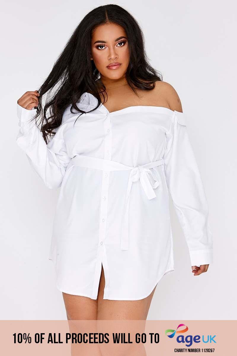 CURVE DULSE WHITE ASYMMETRIC SHIRT DRESS
