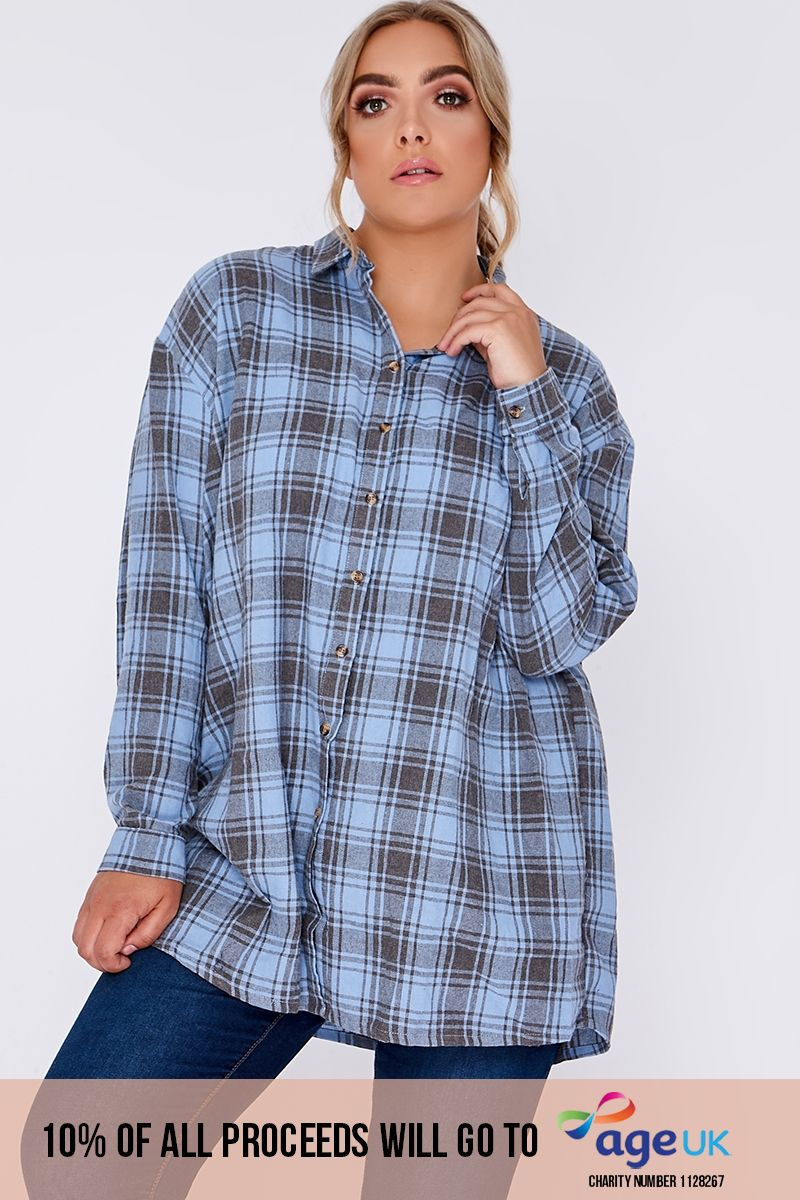 curve blue checked oversized shirt dress