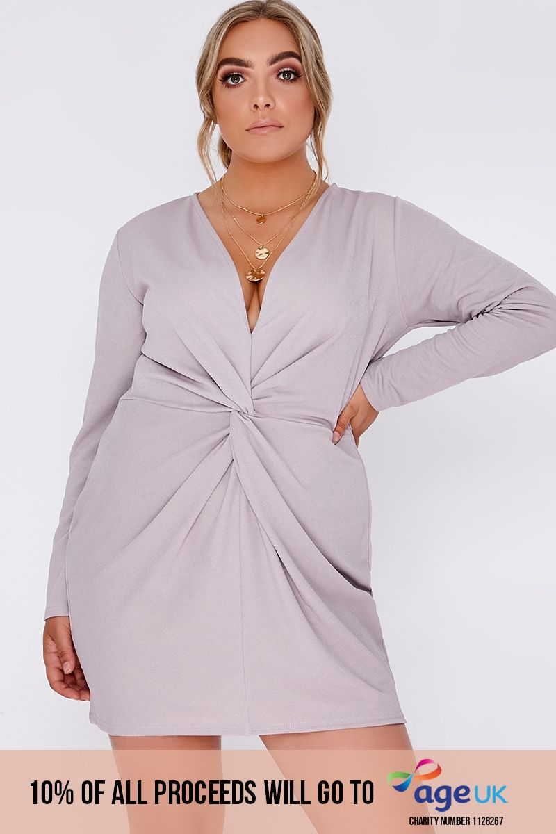 CURVE DAVON LILAC TWIST FRONT PLUNGE MINI DRESS