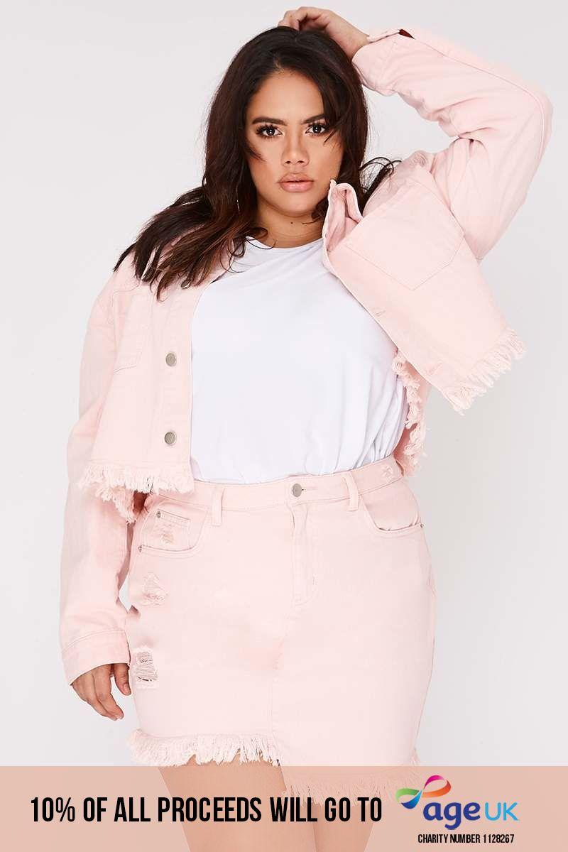 curve pink frayed hem cropped denim jacket