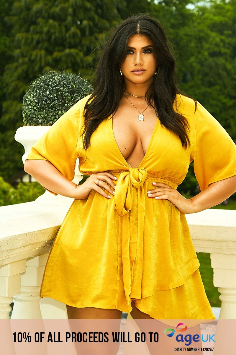 curve mustard satin tie front mini dress