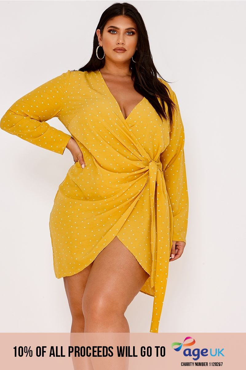 curve mustard polka dot wrap front mini dress