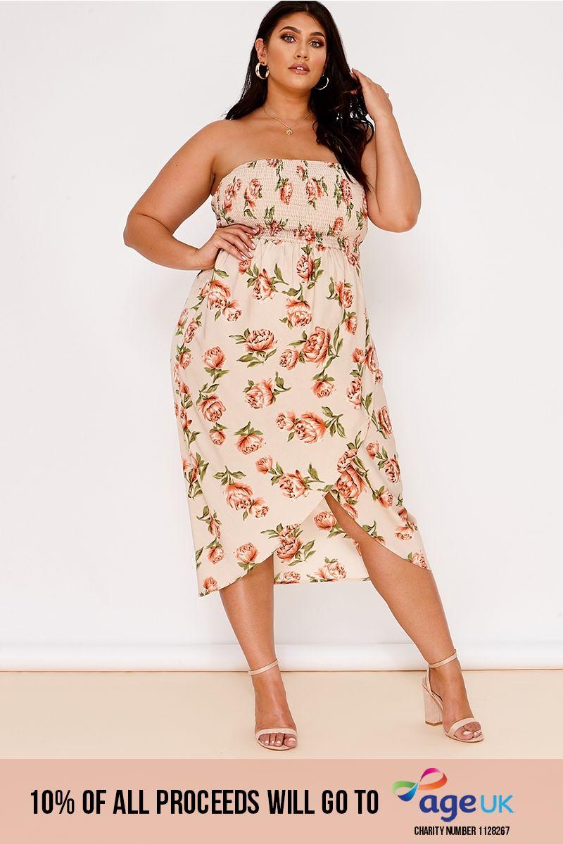 curve nude floral bandeau shirring midi dress