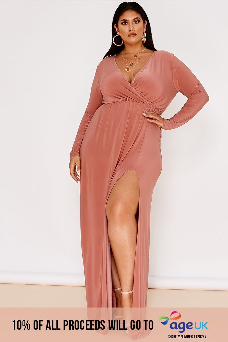 curve blush slinky wrap front maxi dress