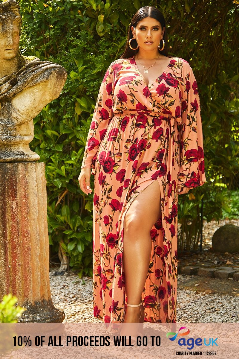 CURVE LATECIA PINK FLORAL THIGH SPLIT PLUNGE MAXI DRESS