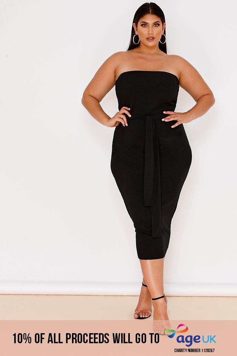 curve black rib bandeau belted midi dress