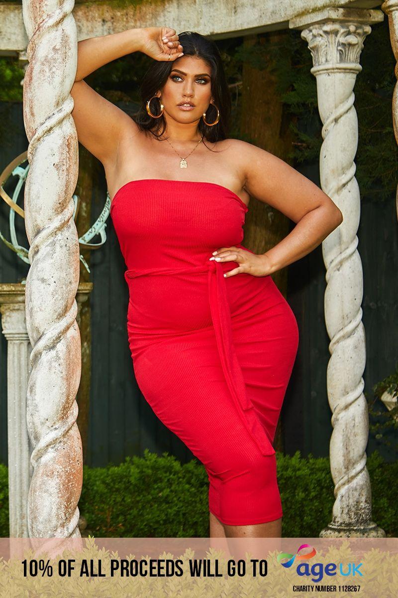 curve red rib bandeau belted midi dress