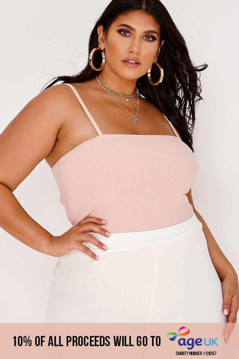 curve blush rib square neck bodysuit