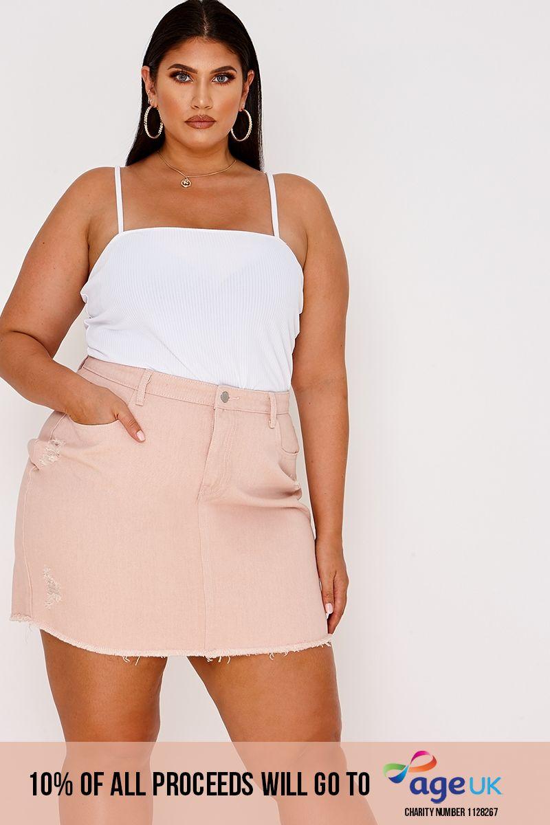 curve pink distressed denim mini skirt