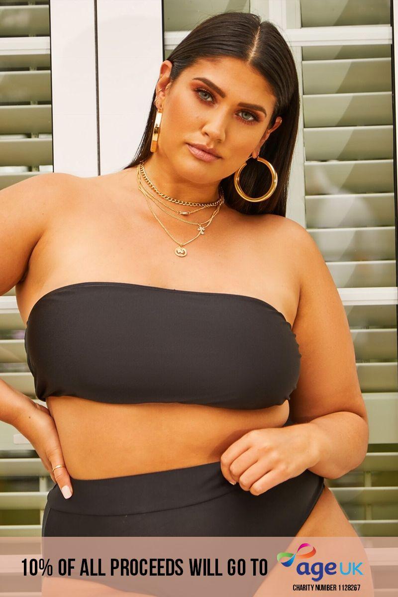 curve black bandeau bikini top