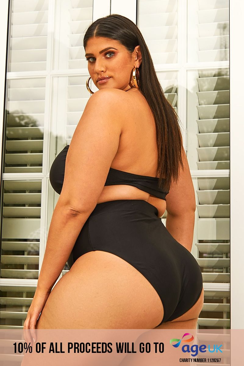 curve black high waisted bikini bottoms