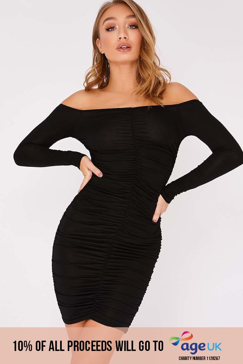 black ruched bardot mini dress