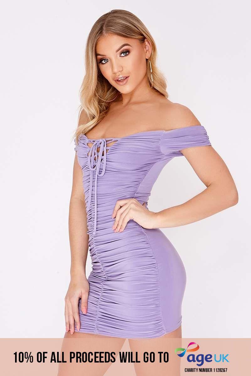lilac lace up ruched bardot mini dress