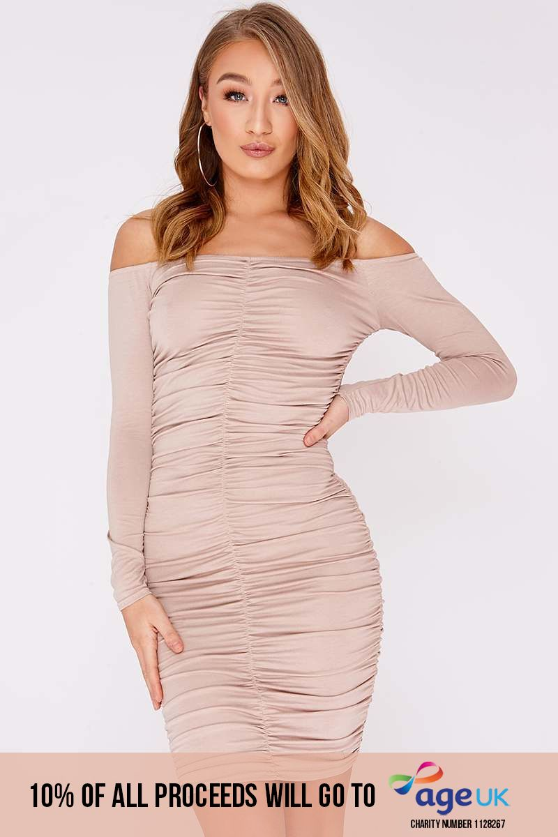 BEENA NUDE RUCHED BARDOT MINI DRESS
