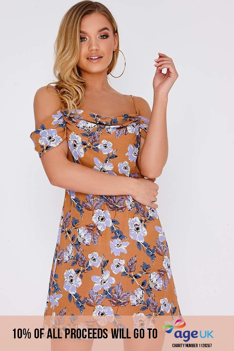 tan floral bardot drape dress